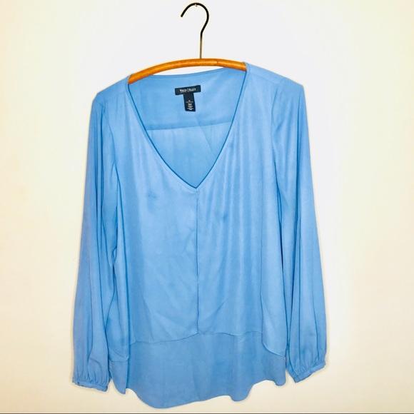 6f24fca189d7e White House Black Market Blue Chiffon Blouse. M 5b8427148869f7bd79dc5d07